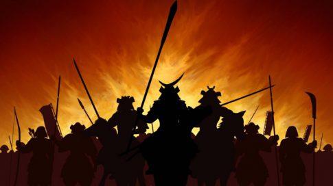 戦う戦国時代の武士のイメージ