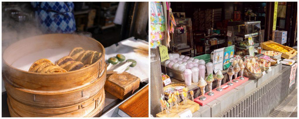 「深大寺まいりあめや」の店頭に並ぶ様々なお土産