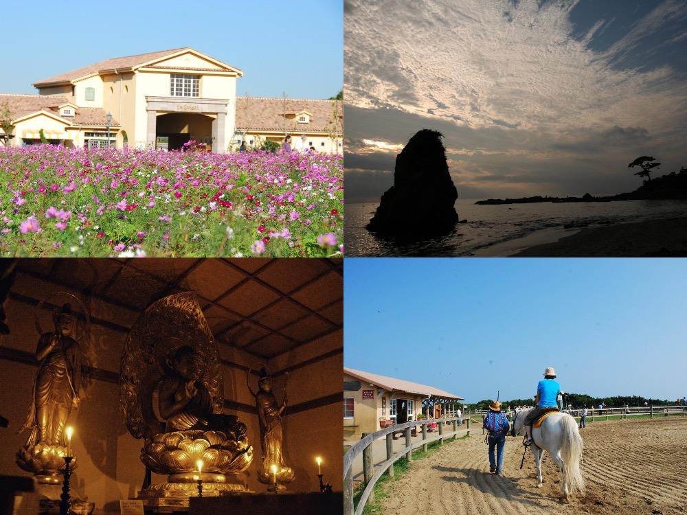 「よこすかルートミュージアム」のモデルコースの1つ「江戸時代から変わらぬ絶景フォトジェニックコース」の各観光スポットのイメージ画像